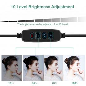 Lacyfans Lampu Halo Ring Light LED Selfie 120 LED 10 Inch with Smartphone Holder + Mini Tripod + Monopod - RL-128 - Black - 11
