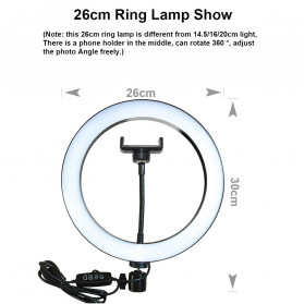 Lacyfans Lampu Halo Ring Light LED Selfie 120 LED 10 Inch with Smartphone Holder + Mini Tripod + Monopod - RL-128 - Black - 12