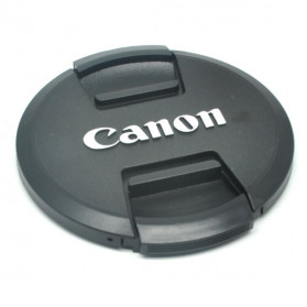 Front Cover & Rear Lens Cap Protection for Canon (With Logo) - Black
