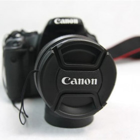 Front Cover & Rear Lens Cap Protection Tutup Lensa Canon 82mm (With Logo) - Black - 2