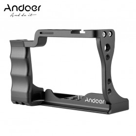 Andoer Camera Cage Rig Handle Stabilizer Vlog Kit for Canon EOS M50 - C11 - Black