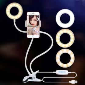 BePotofone Lampu Halo Ring Light LED Selfie 24 LED 90mm with Smartphone Holder + Lazy Bracket - BI791 - Black - 2