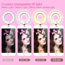 BePotofone Lampu Halo Ring Light LED Selfie 24 LED 90mm with Smartphone Holder + Lazy Bracket - BI791 - Black - 4