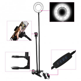 BePotofone 2 Lampu Halo Ring Light LED Selfie 24 LED 90mm with Smartphone Holder + Lazy Bracket - BI791 - Black - 6