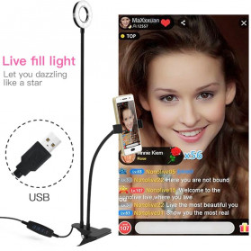 BePotofone 2 Lampu Halo Ring Light LED Selfie 24 LED 90mm with Smartphone Holder + Lazy Bracket - BI791 - Black - 7