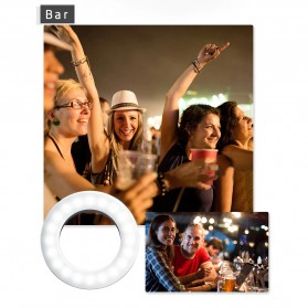 SZKOSTON Lampu Halo Ring Light LED Selfie Smartphone Clip 40 LED - XJ-19 - White - 10