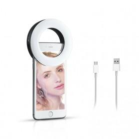 SZKOSTON Lampu Halo Ring Light LED Selfie Smartphone Clip 40 LED - XJ-19 - White - 6
