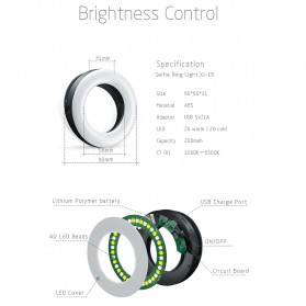 SZKOSTON Lampu Halo Ring Light LED Selfie Smartphone Clip 40 LED - XJ-19 - White - 8