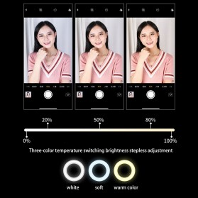 Jinyufeng Lampu Halo Ring Light LED Kamera Wired 336 LED 29cm with 1xSmartphone Holder - Y2 - Black - 12