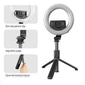 KEERTURN Tripod Tongsis Lampu Halo Ring Light Smartphone 48 LED 16cm with Bluetooth Shutter - L07 - Black - 2