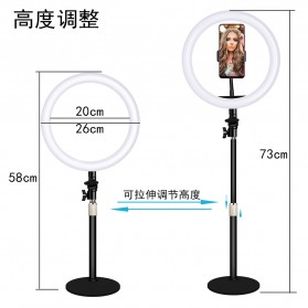 JLAMP Lampu Halo Ring Light LED Selfie 10 Inch with Monopod + Smartphone Holder- JP215 - Black - 1
