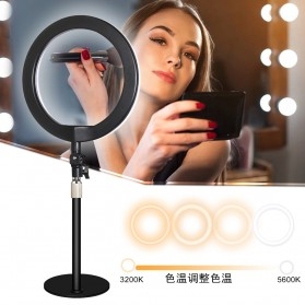 JLAMP Lampu Halo Ring Light LED Selfie 10 Inch with Monopod + Smartphone Holder- JP215 - Black - 5