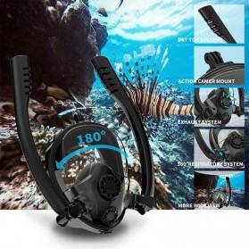 Kacamata Renang, Snorkeling & Selam Scuba Diving - HJKB Kacamata Full Face Selam Scuba Mask Underwater Diving Snorkeling Dual Respirator - YE421 - Black