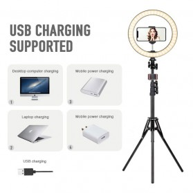 YUNGNUO Lampu Halo Ring Light LED Kamera Wired 120 LED 8-13W 10 Inch with 1xSmartphone Holder + Tripod - JY-255 - White - 4