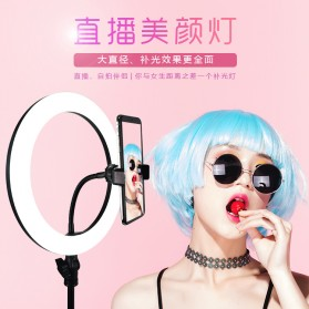 YUNGNUO Lampu Halo Ring Light LED Kamera Wired 120 LED 8-13W 10 Inch with 2xSmartphone Holder Tripod - JY-255 - White - 2