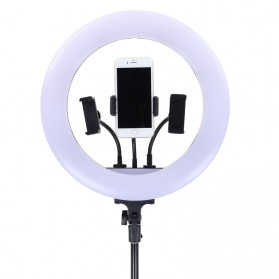 YUNGNUO Lampu Halo Ring Light Kamera USB Type C 225 LED 30W 14 Inch with 3xSmartphone Holder- JY-360C - White