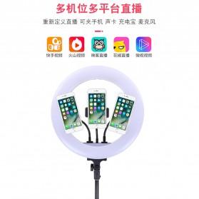 YUNGNUO Lampu Halo Ring Light Kamera USB Type C 225 LED 30W 14 Inch with 3xSmartphone Holder- JY-360C - White - 3
