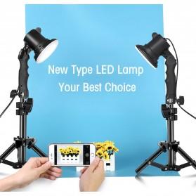 SH Lampu Portable Photo Studio 12W 5500K with Light Stand 37cm - PSX-51 - Black - 6