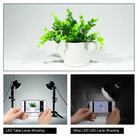 SH Lampu Portable Photo Studio 12W 5500K with Light Stand 37cm - PSX-51 - Black - 9