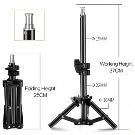 SH Lampu Portable Photo Studio 12W 5500K with Light Stand 37cm - PSX-51 - Black - 11
