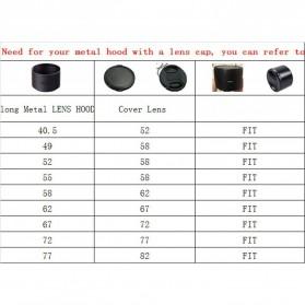 Ynniwa Lens Hood Lensa Kamera Aluminium for 52mm Lens (Screw Mount) - Black - 7