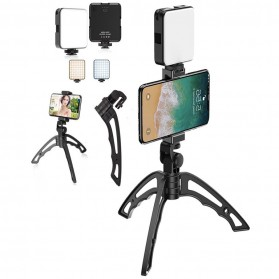 Flash Kamera - APEXEL 3In1 Lampu Flash + Handheld Tripod +  Mount Smartphone - APL-JJ04FL03 - Black