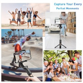 APEXEL Tongsis Selfie Tripod Mini dengan Gimbal Stabilizer Bluetooth Shutter - APL-D6 - Black - 7