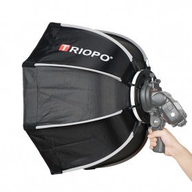 TRIOPO Payung Studio Octagonal Umbrella Softbox Reflektor Flash 55CM - KS55 - Black