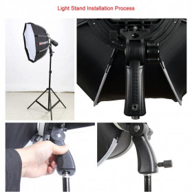 TRIOPO Payung Studio Octagonal Umbrella Softbox Reflektor Flash 55CM - KS55 - Black - 10
