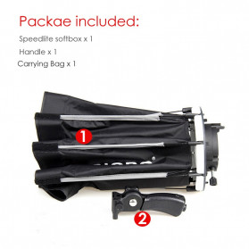 TRIOPO Payung Studio Octagonal Umbrella Softbox Reflektor Flash 55CM - KS55 - Black - 6