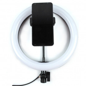 TaffSTUDIO Lampu Halo Ring Light LED Kamera 12W 8 Inch with Smartphone Holder - RL-21 - White