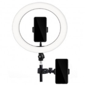 TaffSTUDIO Lampu Halo Ring Light LED Kamera 12W 8 Inch with 2xSmartphone Holder - RL-21 - White