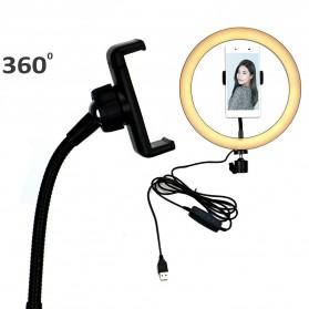 TaffSTUDIO Lampu Halo Ring Light LED Kamera 12W 8 Inch with 2xSmartphone Holder - RL-21 - White - 3