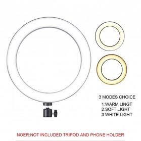 TaffSTUDIO Lampu Halo Ring Light LED Kamera 12W 8 Inch with 2xSmartphone Holder - RL-21 - White - 4