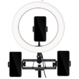 TaffSTUDIO Lampu Halo Ring Light LED Kamera 12W 8 Inch with 3xSmartphone Holder - RL-21 - White