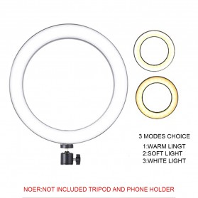 TaffSTUDIO Lampu Halo Ring Light LED Kamera 12W 8 Inch with 3xSmartphone Holder - RL-21 - White - 4