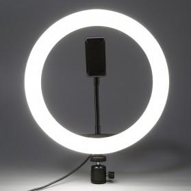 TaffSTUDIO Lampu Halo Ring Light LED Kamera 12W 8 Inch with 3xSmartphone Holder - RL-21 - White - 5