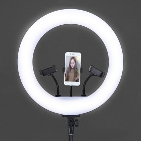 TaffSTUDIO Lampu Halo Ring Light LED Kamera 18 Inch with 3xSmartphone Holder - JY-460B - White