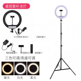 TaffSTUDIO Lampu Halo Ring Light LED Kamera 12 Inch with Smartphone Holder + Remote Control - RL-24 - White