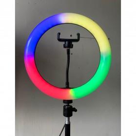 Action Camera, Camera, Tripod, Camera Case - TaffSTUDIO Lampu Halo RGB Ring Light LED Kamera 10 Inch with Smartphone Holder - JY-RGB260 - White