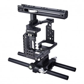 YELANGU Camera Cage Rig Kit for Sony A7 A7K A72 A73 A7S2 A7R2 A7R3 A7X - CA7 - Black
