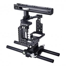 YELANGU Camera Cage Rig Kit for Sony A7 A7K A72 A73 A7S2 A7R2 A7R3 A7X - CA7 - Black - 1