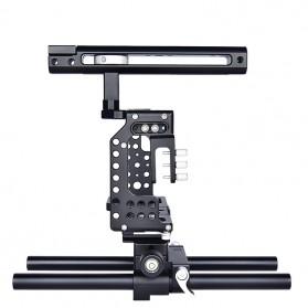 YELANGU Camera Cage Rig Kit for Sony A7 A7K A72 A73 A7S2 A7R2 A7R3 A7X - CA7 - Black - 5