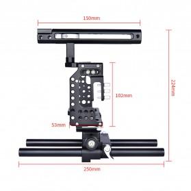 YELANGU Camera Cage Rig Kit for Sony A7 A7K A72 A73 A7S2 A7R2 A7R3 A7X - CA7 - Black - 11