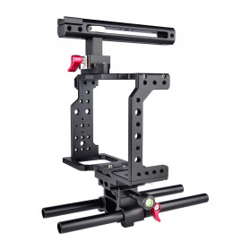 YELANGU Camera Cage Rig Handle Stabilizer Kit for Canon DSLR - C8 - Black