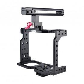YELANGU Camera Cage Rig Handle Stabilizer Kit for Canon DSLR - C8 - Black - 5