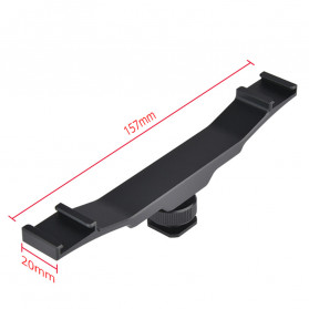 Yelangu Universal Cold Shoe Extension Bracket 2 Hot Shoe with 1/4 Inch Thread Hole - A64 - Black - 8