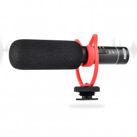 YELANGU Portable Shotgun Microphone Condenser USB Rechargeable for DSLR Camcorder - MIC05 - Black