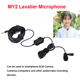 YELANGU Professional Recording Lavalier Video Microphone Clip 3.5mm - MY2 - Black