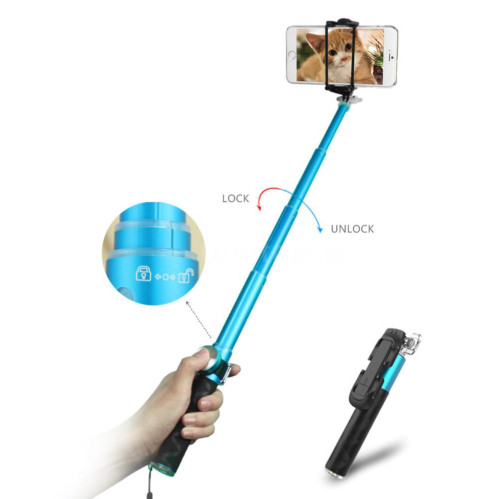 noosy mini selfie stick with bluetooth remote shutter br0801 blue. Black Bedroom Furniture Sets. Home Design Ideas